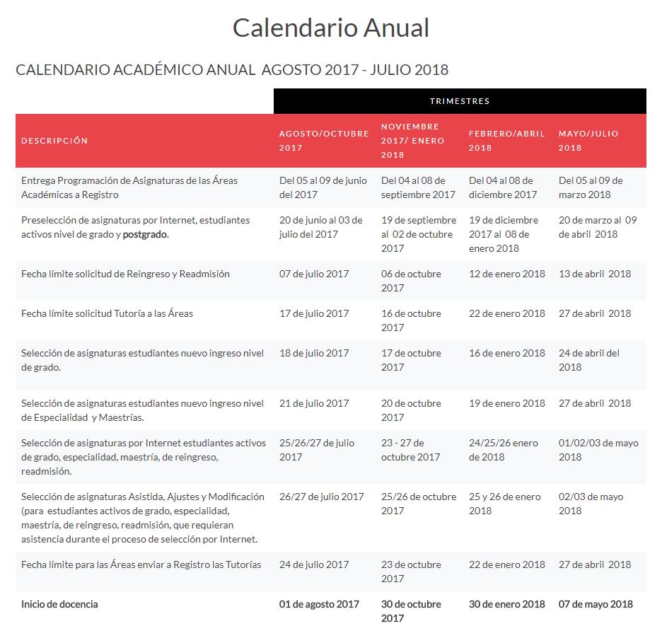Calendario Anual Instituto Tecnológico de Santo Domingo INTEC